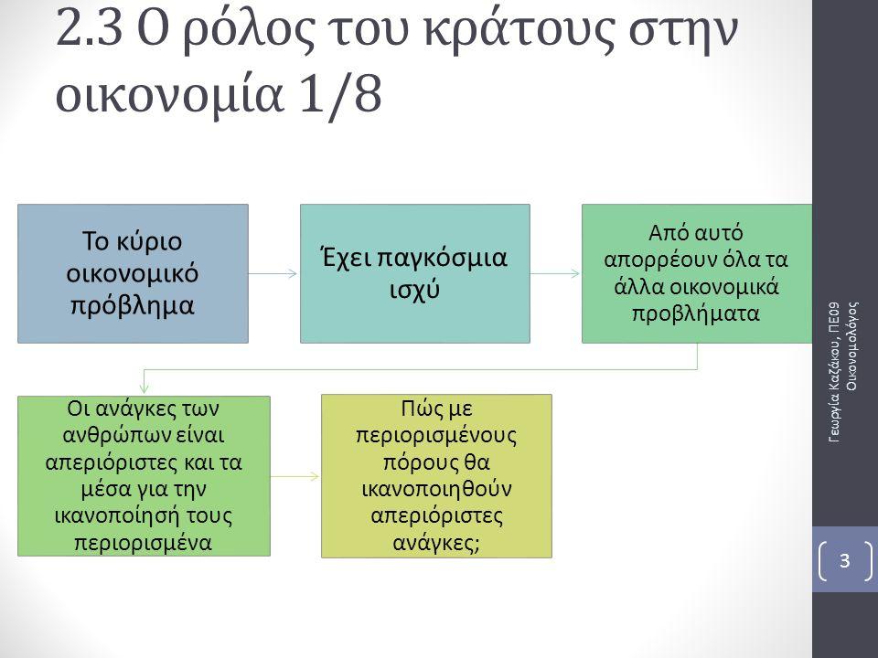 2.3 Ο ρόλος του κράτους στην οικονομία 1/8 Γεωργία Καζάκου, ΠΕ09 Οικονομολόγος 3 Το κύριο οικονομικό πρόβλημα Έχει παγκόσμια ισχύ Από αυτό απορρέουν όλα τα άλλα οικονομικά προβλήματα Οι ανάγκες των ανθρώπων είναι απεριόριστες και τα μέσα για την ικανοποίησή τους περιορισμένα Πώς με περιορισμένους πόρους θα ικανοποιηθούν απεριόριστες ανάγκες;
