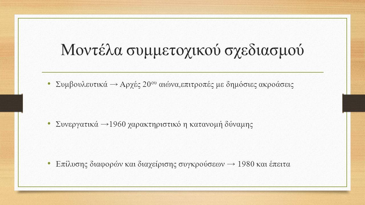 Μοντέλα συμμετοχικού σχεδιασμού Συμβουλευτικά → Αρχές 20 ου αιώνα,επιτροπές με δημόσιες ακροάσεις Συνεργατικά →1960 χαρακτηριστικό η κατανομή δύναμης Επίλυσης διαφορών και διαχείρισης συγκρούσεων → 1980 και έπειτα