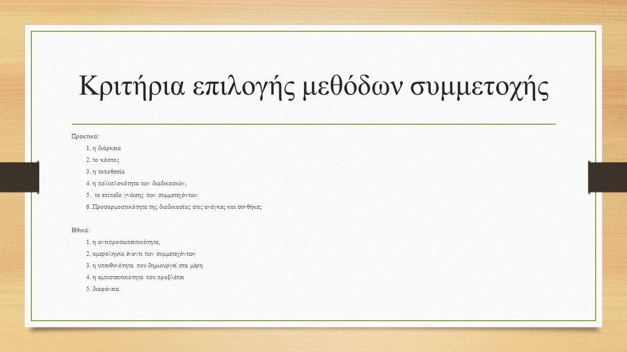 Κριτήρια επιλογής μεθόδων συμμετοχής Πρακτικά: 1. η διάρκεια 2. το κόστος 3. η τοποθεσία 4. η πολυπλοκότητα των διαδικασιών, 5. το επίπεδο γνώσης των