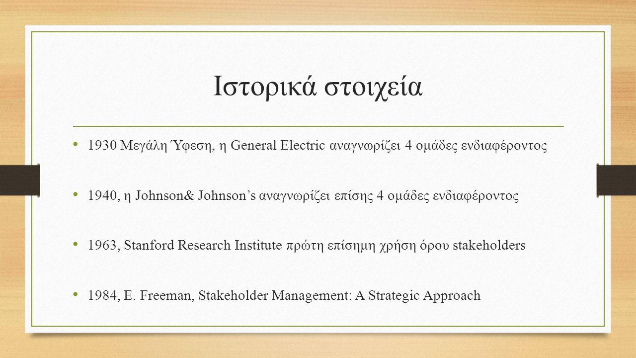 Ιστορικά στοιχεία 1930 Μεγάλη Ύφεση, η General Electric αναγνωρίζει 4 ομάδες ενδιαφέροντος 1940, η Johnson& Johnson's αναγνωρίζει επίσης 4 ομάδες ενδιαφέροντος 1963, Stanford Research Institute πρώτη επίσημη χρήση όρου stakeholders 1984, E.