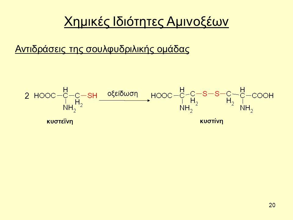 20 Χημικές Ιδιότητες Αμινοξέων Αντιδράσεις της σουλφυδριλικής ομάδας 2 οξείδωση κυστεΐνη κυστίνη