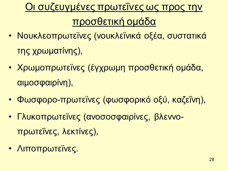 26 Οι συζευγμένες πρωτεΐνες ως προς την προσθετική ομάδα Νουκλεοπρωτεϊνες (νουκλεϊνικά οξέα, συστατικά της χρωματίνης), Χρωμοπρωτεϊνες (έγχρωμη προσθετική ομάδα, αιμοσφαιρίνη), Φωσφορο-πρωτεϊνες (φωσφορικό οξύ, καζεΐνη), Γλυκοπρωτεϊνες (ανοσοσφαιρίνες, βλεννο- πρωτεΐνες, λεκτίνες), Λιποπρωτεϊνες.