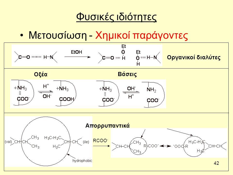 42 Φυσικές ιδιότητες Μετουσίωση - Χημικοί παράγοντες RCOO - Οργανικοί διαλύτες Απορρυπαντικά Βάσεις Οξέα