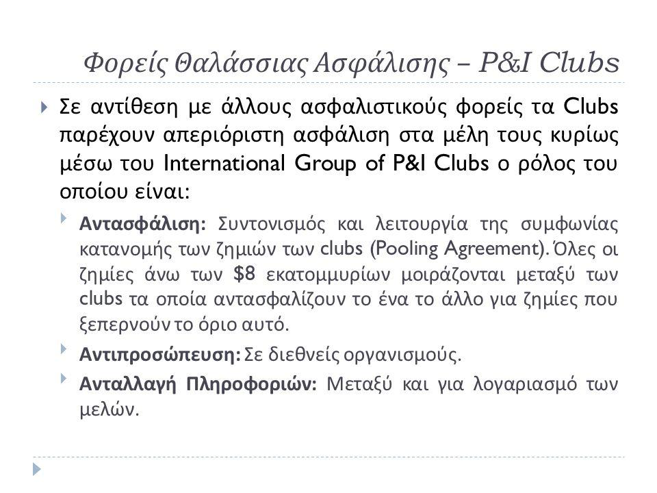 Φορείς Θαλάσσιας Ασφάλισης – P&I Clubs  Σε αντίθεση με άλλους ασφαλιστικούς φορείς τα Clubs παρέχουν απεριόριστη ασφάλιση στα μέλη τους κυρίως μέσω του International Group of P&I Clubs ο ρόλος του οποίου είναι :  Αντασφάλιση : Συντονισμός και λειτουργία της συμφωνίας κατανομής των ζημιών των clubs (Pooling Agreement).