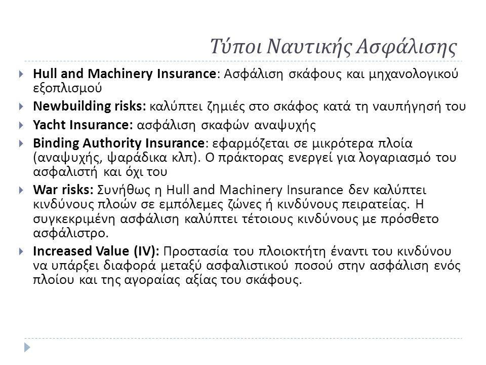 Τύποι Ναυτικής Ασφάλισης  Hull and Machinery Insurance: Ασφάλιση σκάφους και μηχανολογικού εξοπλισμού  Newbuilding risks: καλύπτει ζημιές στο σκάφος κατά τη ναυπήγησή του  Yacht Insurance: ασφάλιση σκαφών αναψυχής  Binding Authority Insurance: εφαρμόζεται σε μικρότερα πλοία ( αναψυχής, ψαράδικα κλπ ).