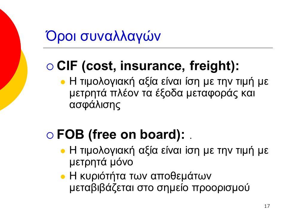 17 Όροι συναλλαγών  CIF (cost, insurance, freight): Η τιμολογιακή αξία είναι ίση με την τιμή με μετρητά πλέον τα έξοδα μεταφοράς και ασφάλισης  FOB (free οn board):.