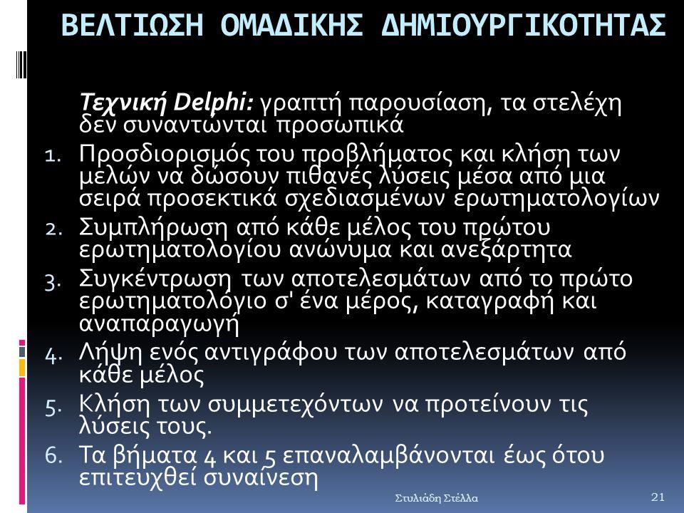Στυλιάδη Στέλλα ΒΕΛΤΙΩΣΗ ΟΜΑΔΙΚΗΣ ΔΗΜΙΟΥΡΓΙΚΟΤΗΤΑΣ Τεχνική Delphi: γραπτή παρουσίαση, τα στελέχη δεν συναντώνται προσωπικά 1. Προσδιορισμός του προβλή