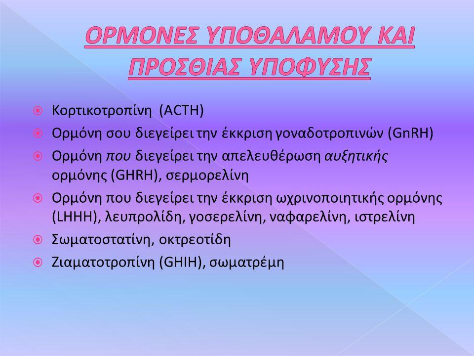  Κορτικοτροπίνη (ACTH)  Ορμόνη σου διεγείρει την έκκριση γοναδοτροπινών (GnRH)  Ορμόνη που διεγείρει την απελευθέρωση αυξητικής ορμόνης (GHRH), σερμορελίνη  Ορμόνη που διεγείρει την έκκριση ωχρινοποιητικής ορμόνης (LHHH), λευπρολίδη, γοσερελίνη, ναφαρελίνη, ιστρελίνη  Σωματοστατίνη, οκτρεοτίδη  Ζιαματοτροπίνη (GHIH), σωματρέμη