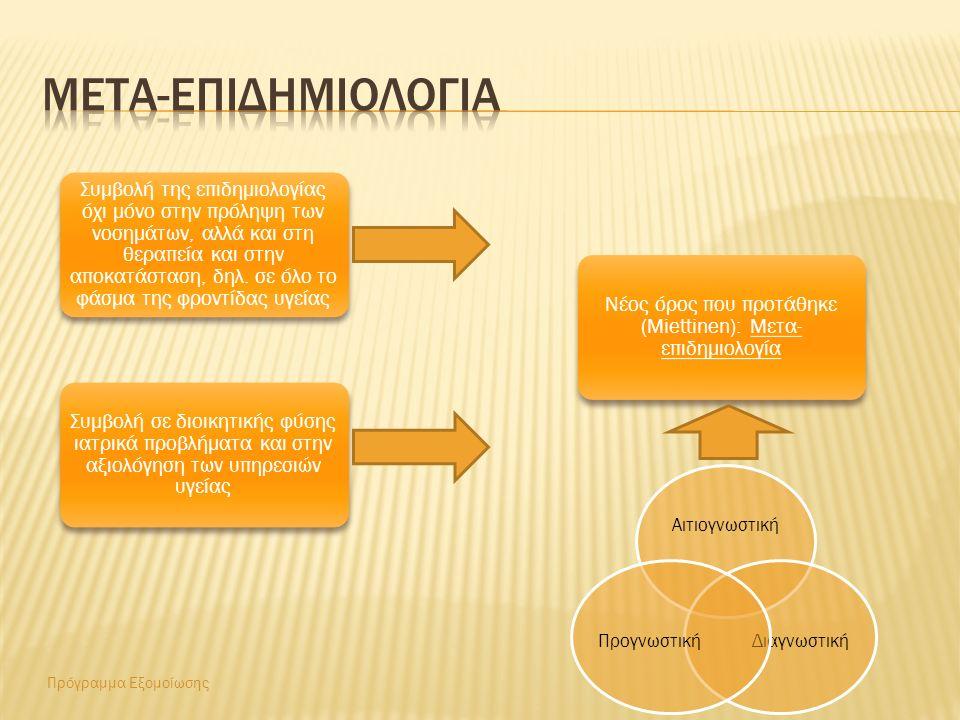 Πρόγραμμα Εξομοίωσης Συμβολή της επιδημιολογίας όχι μόνο στην πρόληψη των νοσημάτων, αλλά και στη θεραπεία και στην αποκατάσταση, δηλ.
