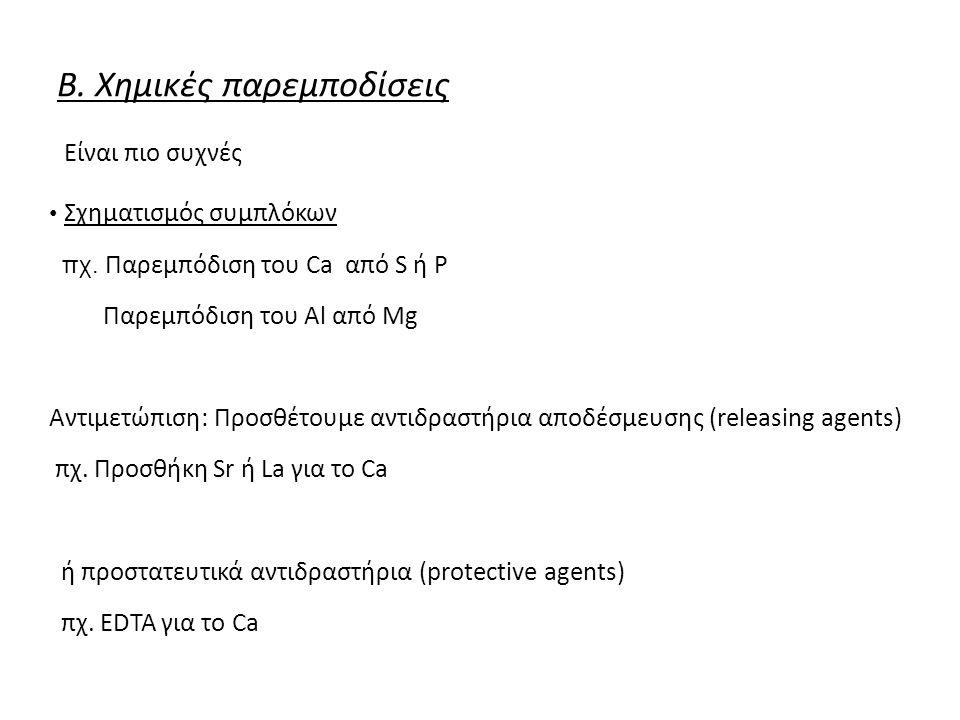 Β. Χημικές παρεμποδίσεις Είναι πιο συχνές Σχηματισμός συμπλόκων πχ.
