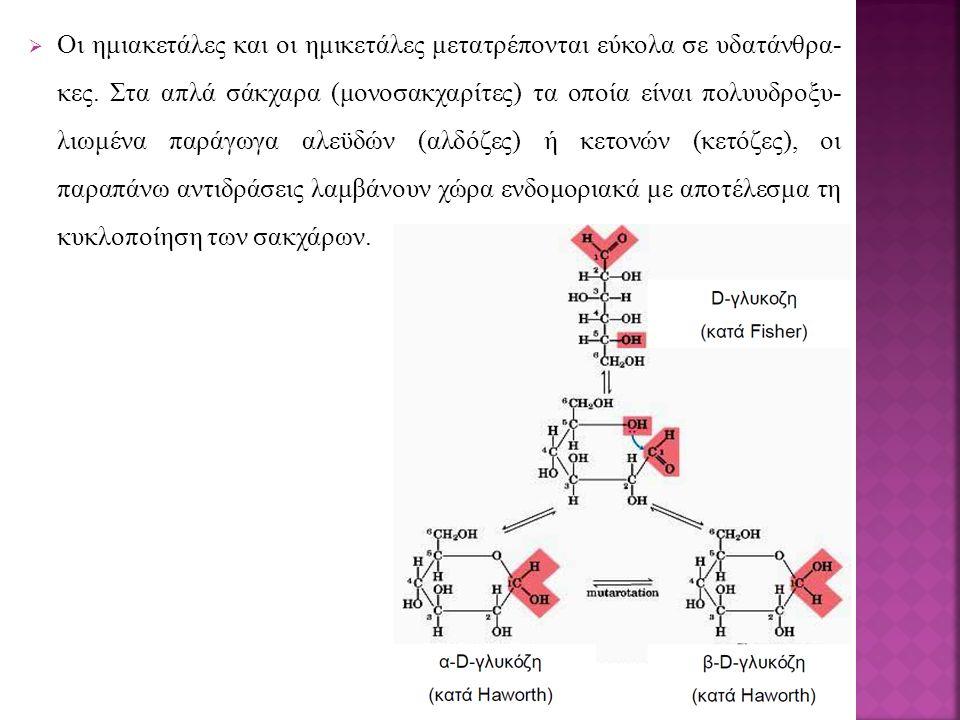  Οι ημιακετάλες και οι ημικετάλες μετατρέπονται εύκολα σε υδατάνθρα- κες. Στα απλά σάκχαρα (μονοσακχαρίτες) τα οποία είναι πολυυδροξυ- λιωμένα παράγω