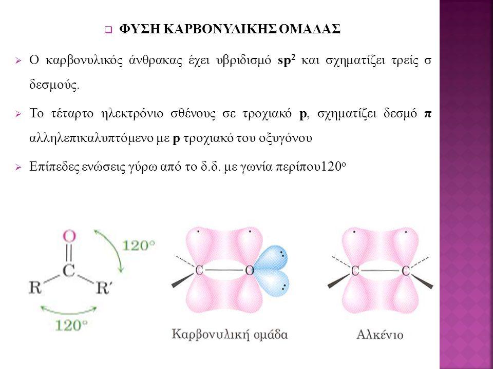  ΦΥΣΗ ΚΑΡΒΟΝΥΛΙΚΗΣ ΟΜΑΔΑΣ  Ο καρβονυλικός άνθρακας έχει υβριδισμό sp 2 και σχηματίζει τρείς σ δεσμούς.  Το τέταρτο ηλεκτρόνιο σθένους σε τροχιακό p