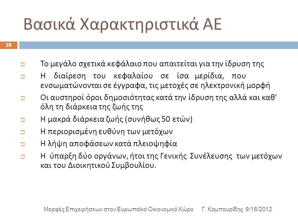 Βασικά Χαρακτηριστικά ΑΕ Γ.