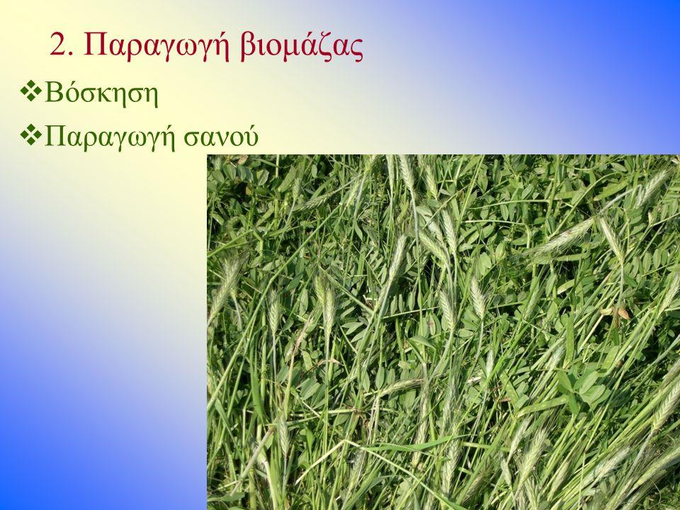 2. Παραγωγή βιομάζας  Βόσκηση  Παραγωγή σανού