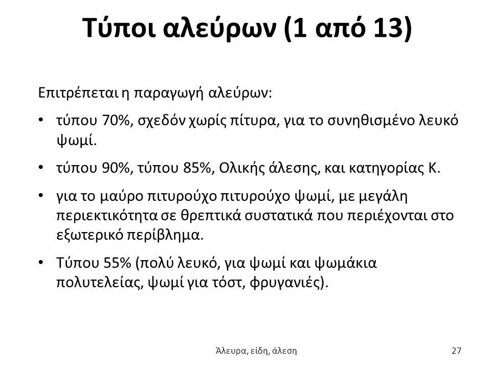 Τύποι αλεύρων (1 από 13) Επιτρέπεται η παραγωγή αλεύρων: τύπου 70%, σχεδόν χωρίς πίτυρα, για το συνηθισμένο λευκό ψωμί. τύπου 90%, τύπου 85%, Oλικής ά