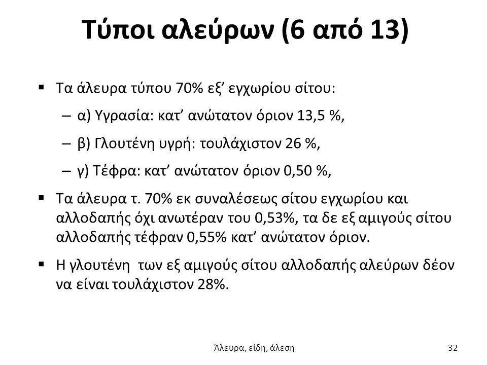 Τύποι αλεύρων (6 από 13)  Τα άλευρα τύπου 70% εξ' εγχωρίου σίτου: – α) Υγρασία: κατ' ανώτατον όριον 13,5 %, – β) Γλουτένη υγρή: τουλάχιστον 26 %, – γ