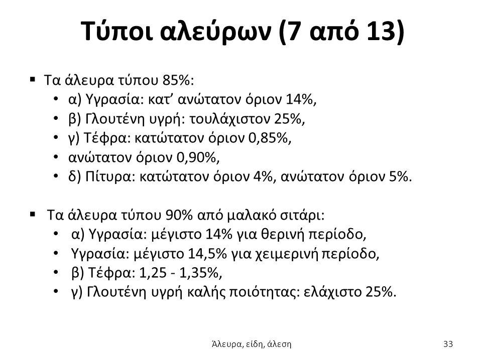 Τύποι αλεύρων (7 από 13)  Τα άλευρα τύπου 85%: α) Υγρασία: κατ' ανώτατον όριον 14%, β) Γλουτένη υγρή: τουλάχιστον 25%, γ) Τέφρα: κατώτατον όριον 0,85