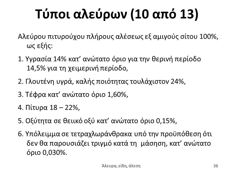 Τύποι αλεύρων (10 από 13) Αλεύρου πιτυρούχου πλήρους αλέσεως εξ αμιγούς σίτου 100%, ως εξής: 1. Υγρασία 14% κατ' ανώτατο όριο για την θερινή περίοδο 1