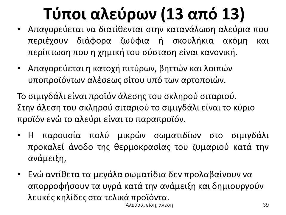 Τύποι αλεύρων (13 από 13) Απαγορεύεται να διατίθενται στην κατανάλωση αλεύρια που περιέχουν διάφορα ζωύφια ή σκουλήκια ακόμη και περίπτωση που η χημικ
