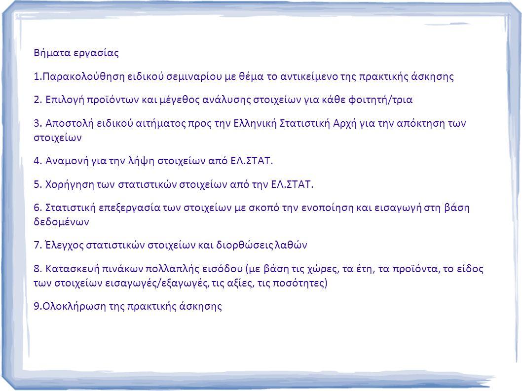 Βήματα εργασίας 1.Παρακολούθηση ειδικού σεμιναρίου με θέμα το αντικείμενο της πρακτικής άσκησης 2.
