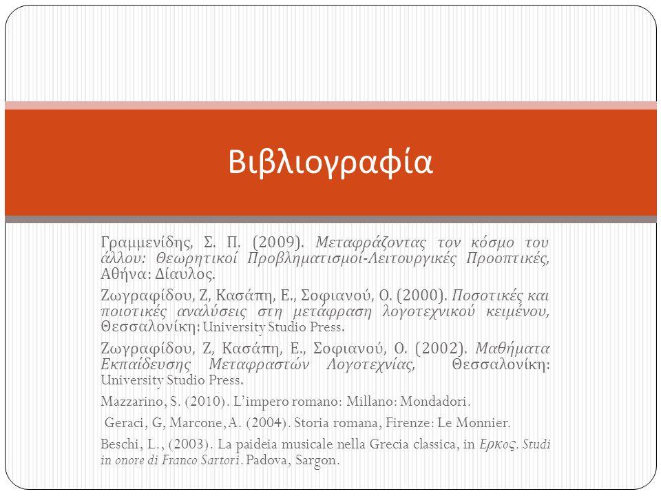 Γραμμενίδης, Σ. Π. (2009).