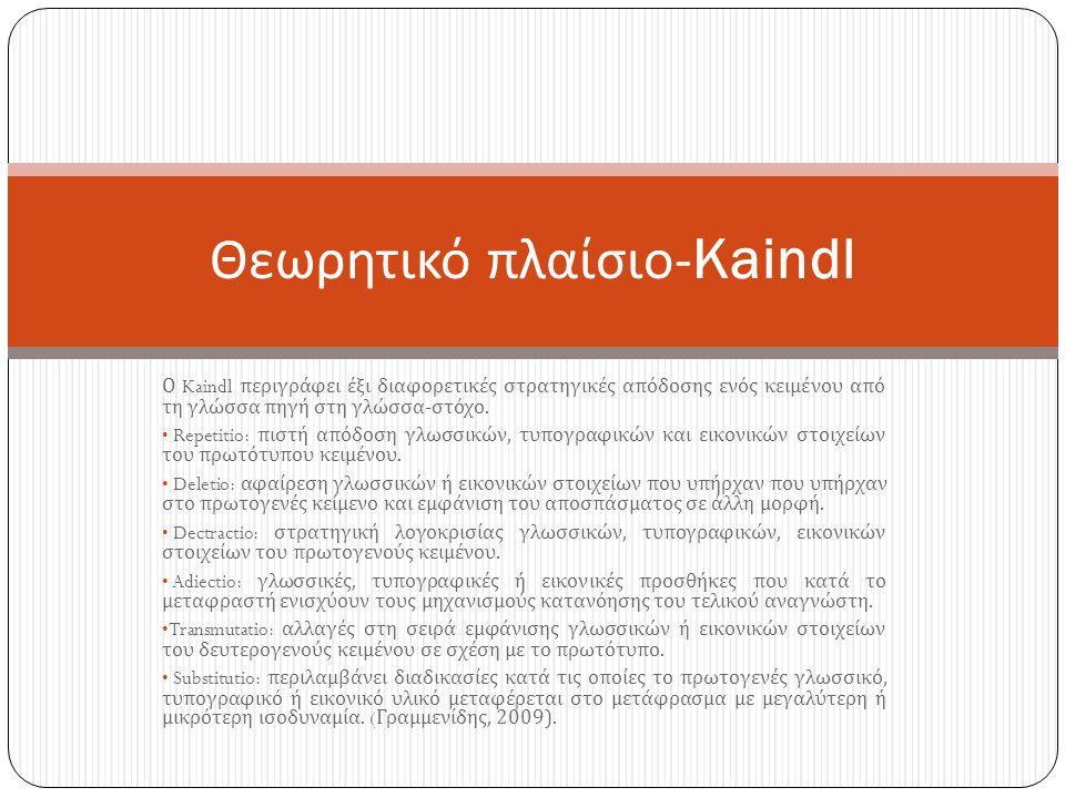 Ο Kaindl περιγράφει έξι διαφορετικές στρατηγικές απόδοσης ενός κειμένου από τη γλώσσα πηγή στη γλώσσα - στόχο.