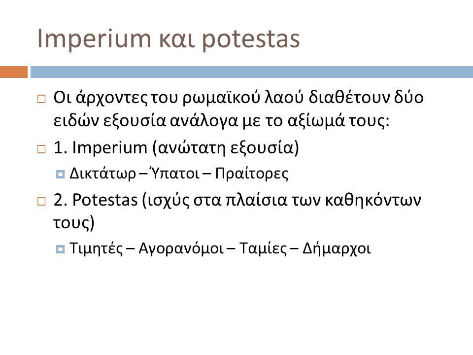 Imperium και potestas  Οι άρχοντες του ρωμαϊκού λαού διαθέτουν δύο ειδών εξουσία ανάλογα με το αξίωμά τους:  1. Imperium (ανώτατη εξουσία)  Δικτάτω
