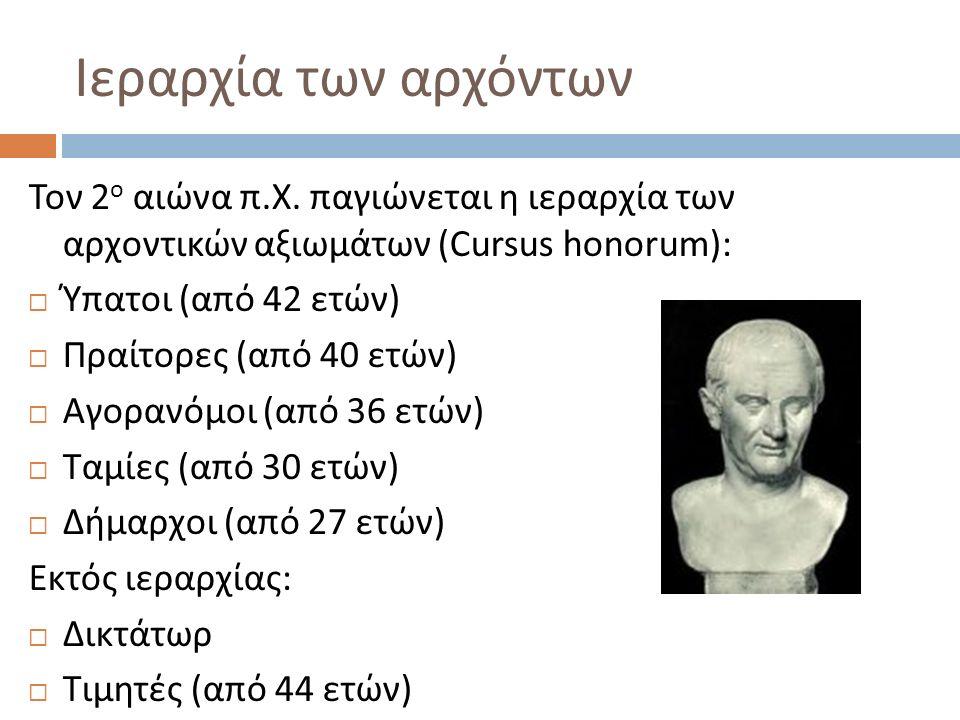 Ιεραρχία των αρχόντων Τον 2 ο αιώνα π.Χ.
