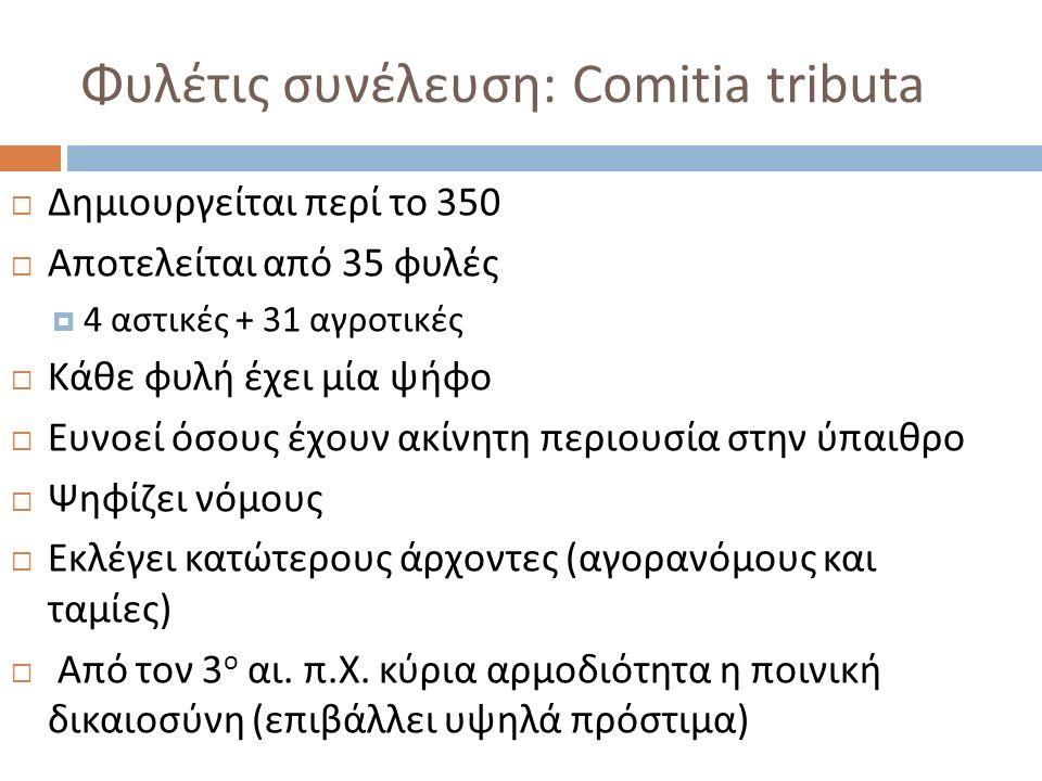 Φυλέτις συνέλευση: Comitia tributa  Δημιουργείται περί το 350  Αποτελείται από 35 φυλές  4 αστικές + 31 αγροτικές  Κάθε φυλή έχει μία ψήφο  Ευνοεί όσους έχουν ακίνητη περιουσία στην ύπαιθρο  Ψηφίζει νόμους  Εκλέγει κατώτερους άρχοντες ( αγορανόμους και ταμίες )  Από τον 3 ο αι.