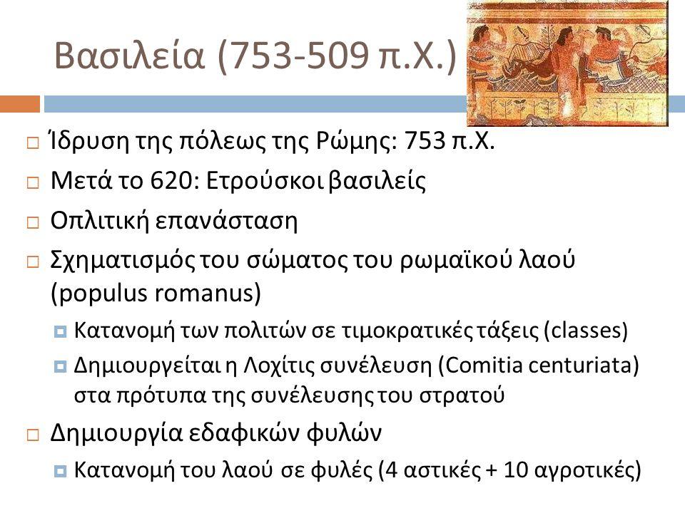 Βασιλεία (753-509 π. Χ.)  Ίδρυση της πόλεως της Ρώμης : 753 π. Χ.  Μετά το 620: Ετρούσκοι βασιλείς  Οπλιτική επανάσταση  Σχηματισμός του σώματος τ