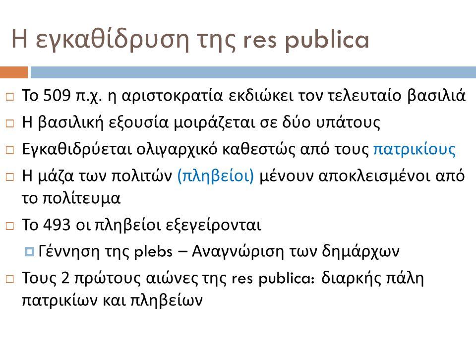 Η εγκαθίδρυση της res publica  Το 509 π. χ. η αριστοκρατία εκδιώκει τον τελευταίο βασιλιά  Η βασιλική εξουσία μοιράζεται σε δύο υπάτους  Εγκαθιδρύε