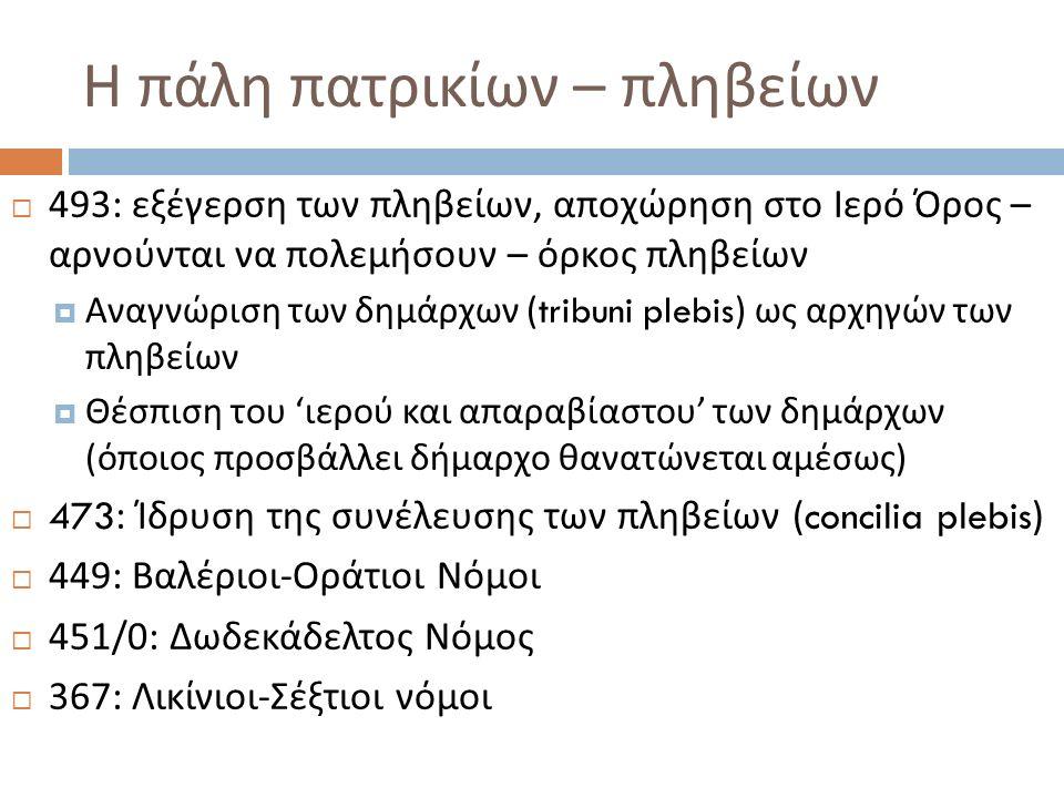 Η πάλη πατρικίων – πληβείων  493: εξέγερση των πληβείων, αποχώρηση στο Ιερό Όρος – αρνούνται να πολεμήσουν – όρκος πληβείων  Αναγνώριση των δημάρχων (tribuni plebis) ως αρχηγών των πληβείων  Θέσπιση του ' ιερού και απαραβίαστου ' των δημάρχων ( όποιος προσβάλλει δήμαρχο θανατώνεται αμέσως )  473: Ίδρυση της συνέλευσης των πληβείων (concilia plebis)  449: Βαλέριοι - Οράτιοι Νόμοι  451/0: Δωδεκάδελτος Νόμος  367: Λικίνιοι - Σέξτιοι νόμοι