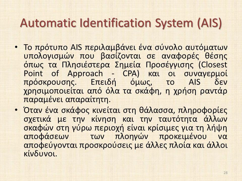 Automatic Identification System (AIS) Το πρότυπο AIS περιλαμβάνει ένα σύνολο αυτόματων υπολογισμών που βασίζονται σε αναφορές θέσης όπως τα Πλησιέστερα Σημεία Προσέγγισης (Closest Point of Approach - CPA) και οι συναγερμοί πρόσκρουσης.