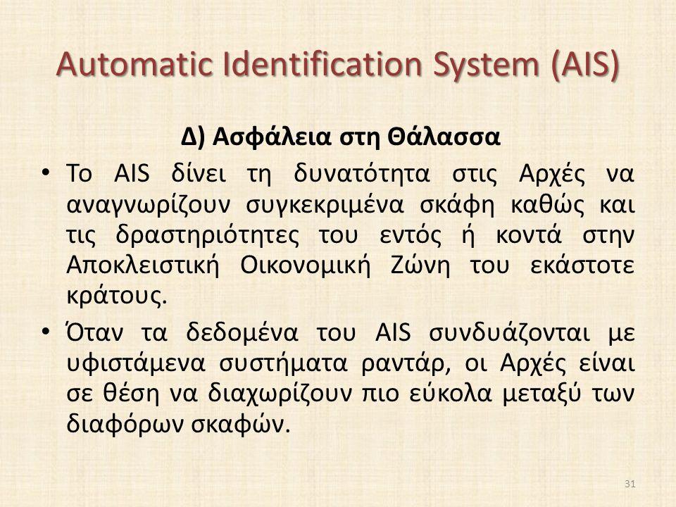 Automatic Identification System (AIS) Δ) Ασφάλεια στη Θάλασσα Το AIS δίνει τη δυνατότητα στις Αρχές να αναγνωρίζουν συγκεκριμένα σκάφη καθώς και τις δραστηριότητες του εντός ή κοντά στην Αποκλειστική Οικονομική Ζώνη του εκάστοτε κράτους.