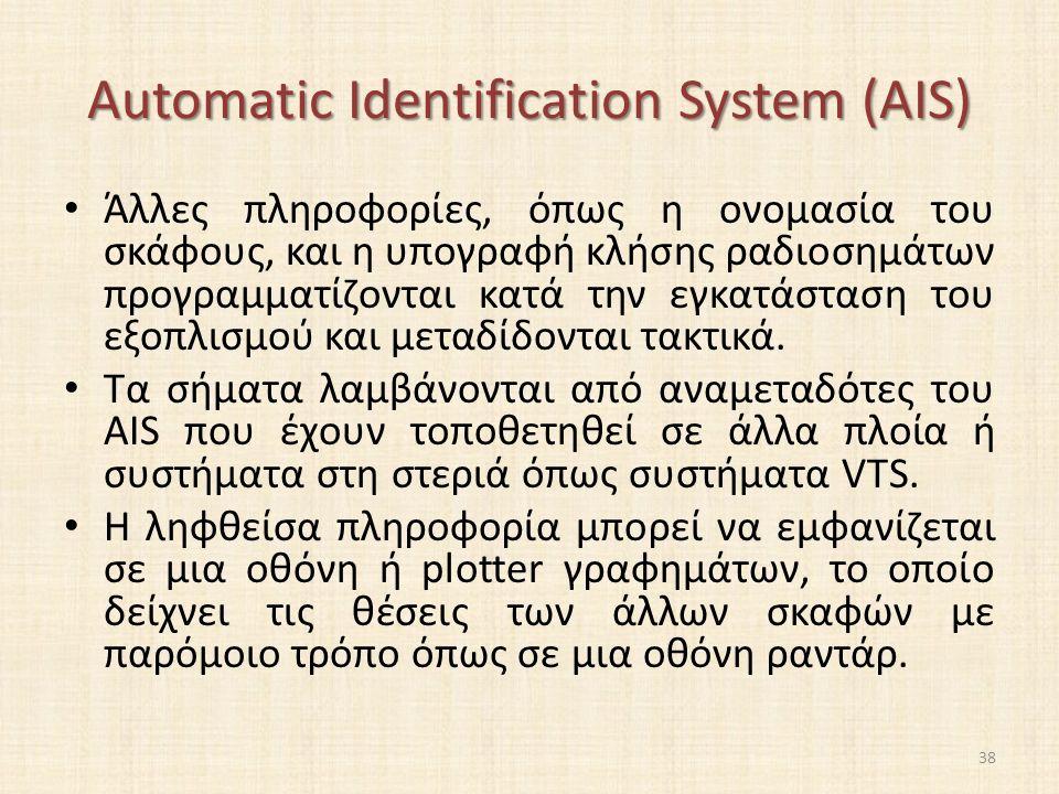 Automatic Identification System (AIS) Άλλες πληροφορίες, όπως η ονομασία του σκάφους, και η υπογραφή κλήσης ραδιοσημάτων προγραμματίζονται κατά την εγκατάσταση του εξοπλισμού και μεταδίδονται τακτικά.