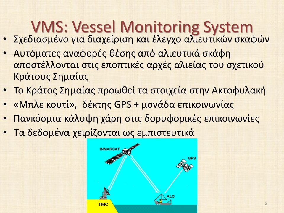 VMS: Vessel Monitoring System Σχεδιασμένο για διαχείριση και έλεγχο αλιευτικών σκαφών Αυτόματες αναφορές θέσης από αλιευτικά σκάφη αποστέλλονται στις εποπτικές αρχές αλιείας του σχετικού Κράτους Σημαίας Το Κράτος Σημαίας προωθεί τα στοιχεία στην Ακτοφυλακή «Μπλε κουτί», δέκτης GPS + μονάδα επικοινωνίας Παγκόσμια κάλυψη χάρη στις δορυφορικές επικοινωνίες Τα δεδομένα χειρίζονται ως εμπιστευτικά 5