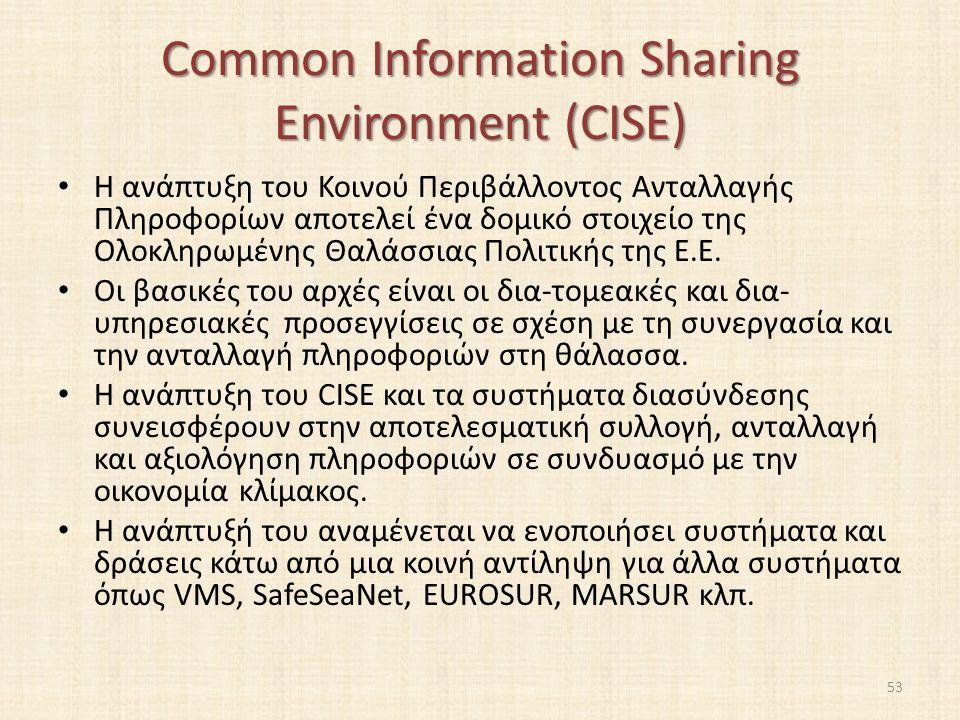 Common Information Sharing Environment (CISE) Η ανάπτυξη του Κοινού Περιβάλλοντος Ανταλλαγής Πληροφορίων αποτελεί ένα δομικό στοιχείο της Ολοκληρωμένης Θαλάσσιας Πολιτικής της Ε.Ε.