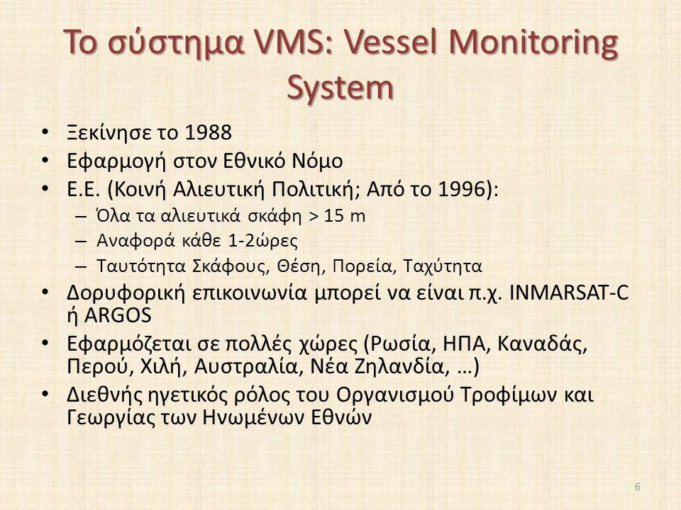 Το σύστημα VMS: Vessel Monitoring System Ξεκίνησε το 1988 Εφαρμογή στον Εθνικό Νόμο Ε.Ε.