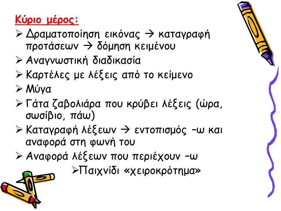  Με ποιον τρόπο τα παιδιά σκέφτηκαν να βοηθήσουν το σκυλάκι; (βάρκα, σωσίβιο)  εντοπισμός του –β και αναφορά στη φωνή του  Δραστηριότητες εντοπισμού γράμματος  Δράκος (η λέξη σωσίβιο)  Βιβλία: Καταγραφή λέξεων πάνω στην εικόνα Κλείσιμο: Ανάγνωση του κειμένου