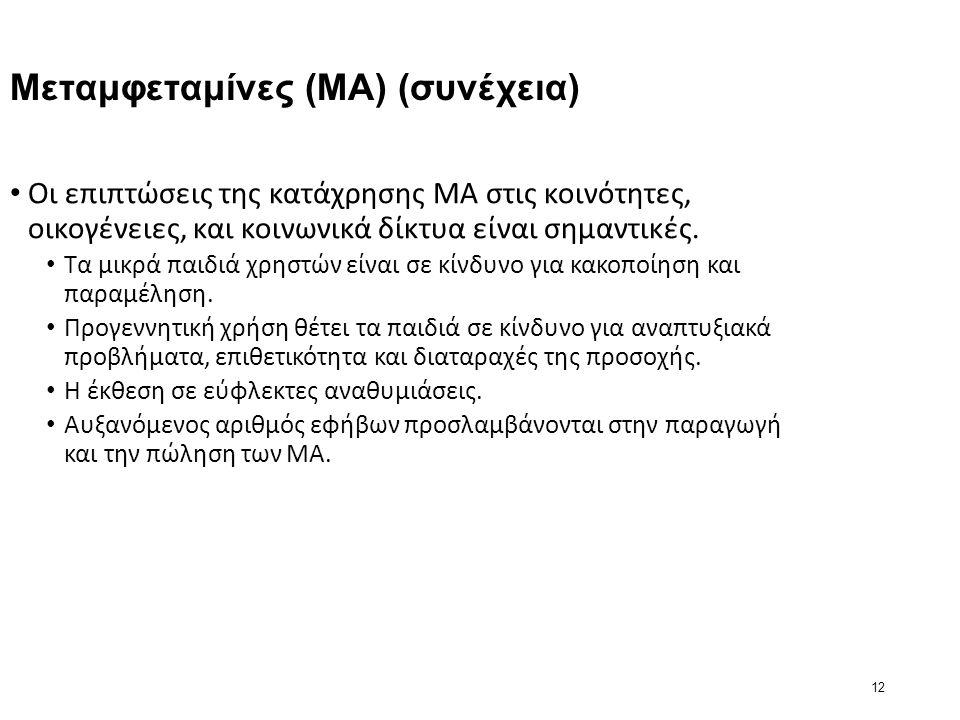 12 Μεταμφεταμίνες (ΜΑ) (συνέχεια) Οι επιπτώσεις της κατάχρησης MA στις κοινότητες, οικογένειες, και κοινωνικά δίκτυα είναι σημαντικές.