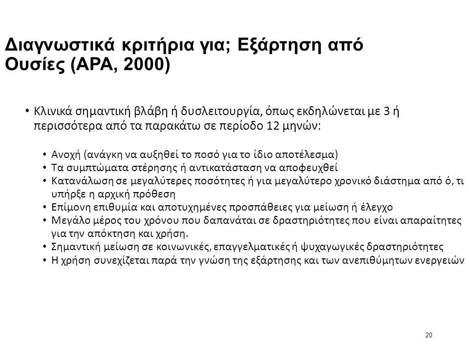 20 Διαγνωστικά κριτήρια για; Εξάρτηση από Ουσίες (APA, 2000) Κλινικά σημαντική βλάβη ή δυσλειτουργία, όπως εκδηλώνεται με 3 ή περισσότερα από τα παρακάτω σε περίοδο 12 μηνών: Ανοχή (ανάγκη να αυξηθεί το ποσό για το ίδιο αποτέλεσμα) Τα συμπτώματα στέρησης ή αντικατάσταση να αποφευχθεί Κατανάλωση σε μεγαλύτερες ποσότητες ή για μεγαλύτερο χρονικό διάστημα από ό, τι υπήρξε η αρχική πρόθεση Επίμονη επιθυμία και αποτυχημένες προσπάθειες για μείωση ή έλεγχο Μεγάλο μέρος του χρόνου που δαπανάται σε δραστηριότητες που είναι απαραίτητες για την απόκτηση και χρήση.
