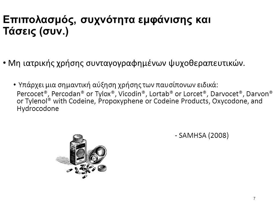 7 Επιπολασμός, συχνότητα εμφάνισης και Τάσεις (συν.) Μη ιατρικής χρήσης συνταγογραφημένων ψυχοθεραπευτικών.