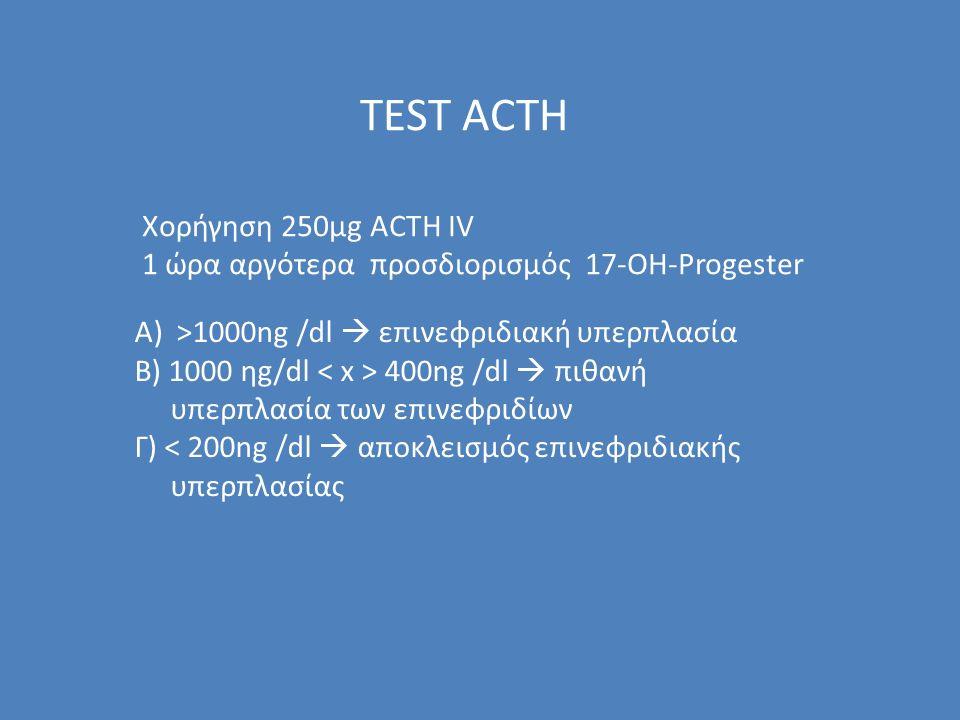 TEST ACTH Xορήγηση 250μg ACTH IV 1 ώρα αργότερα προσδιορισμός 17-OH-Progester Α) >1000ng /dl  επινεφριδιακή υπερπλασία Β) 1000 ηg/dl 400ng /dl  πιθανή υπερπλασία των επινεφριδίων Γ) < 200ng /dl  αποκλεισμός επινεφριδιακής υπερπλασίας