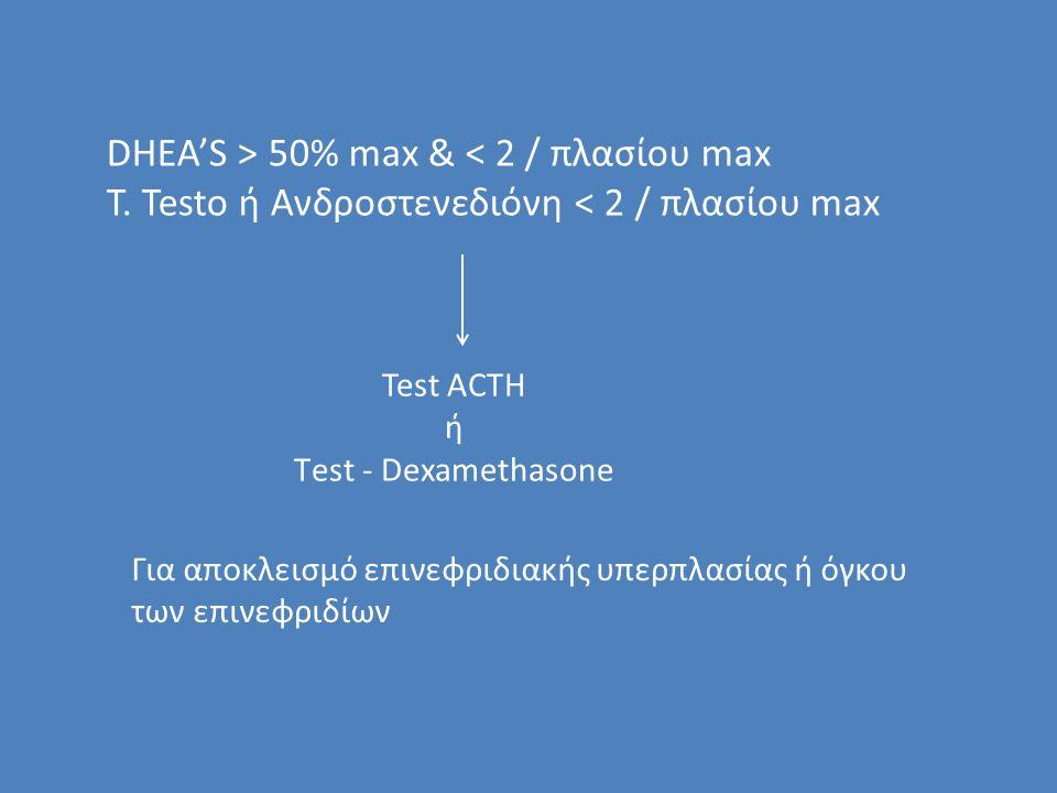 DHEA'S > 50% max & < 2 / πλασίου max T.