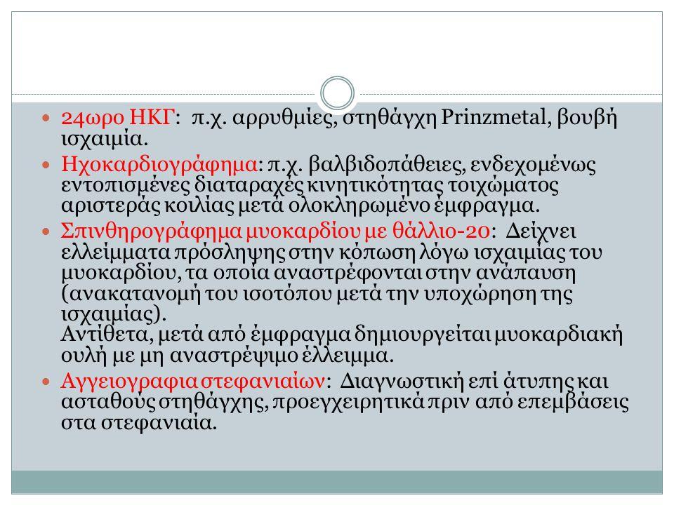 24ωρο ΗΚΓ: π.χ. αρρυθμίες, στηθάγχη Prinzmetal, βουβή ισχαιμία.
