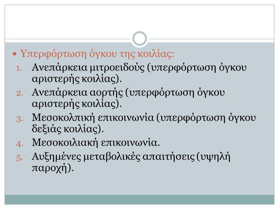 Υπερφόρτωση όγκου της κοιλίας: 1. Ανεπάρκεια μιτροειδούς (υπερφόρτωση όγκου αριστερής κοιλίας).