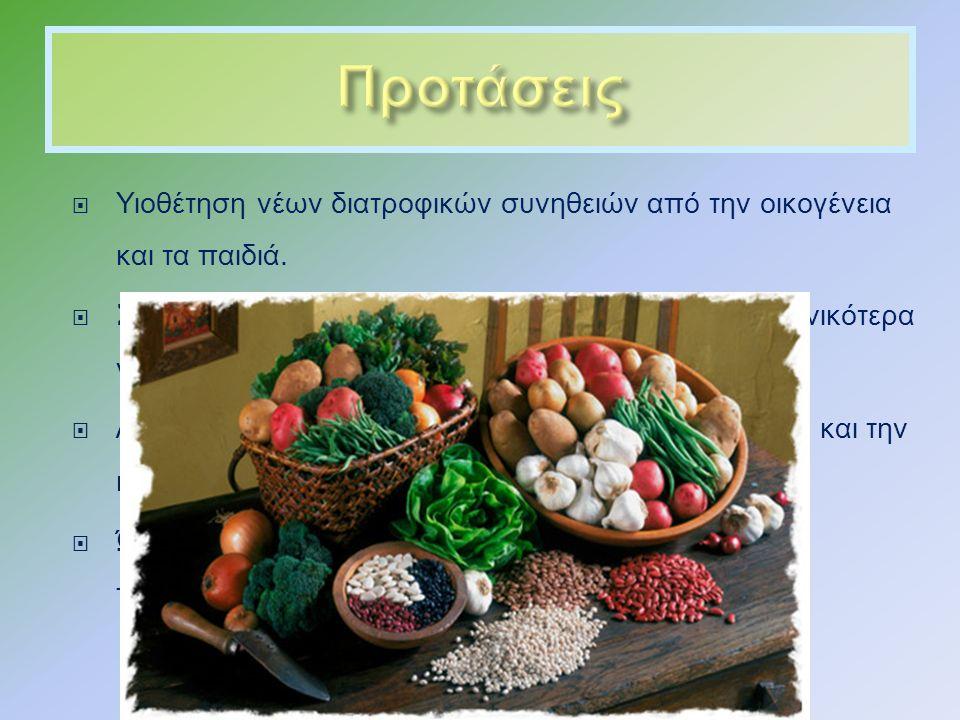  Υιοθέτηση νέων διατροφικών συνηθειών από την οικογένεια και τα παιδιά.