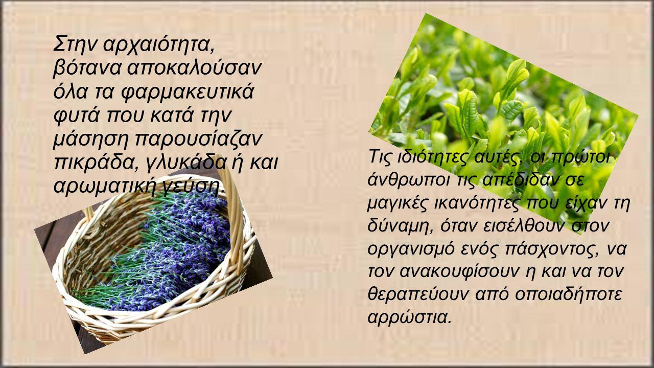 Στην αρχαιότητα, βότανα αποκαλούσαν όλα τα φαρμακευτικά φυτά που κατά την μάσηση παρουσίαζαν πικράδα, γλυκάδα ή και αρωματική γεύση.
