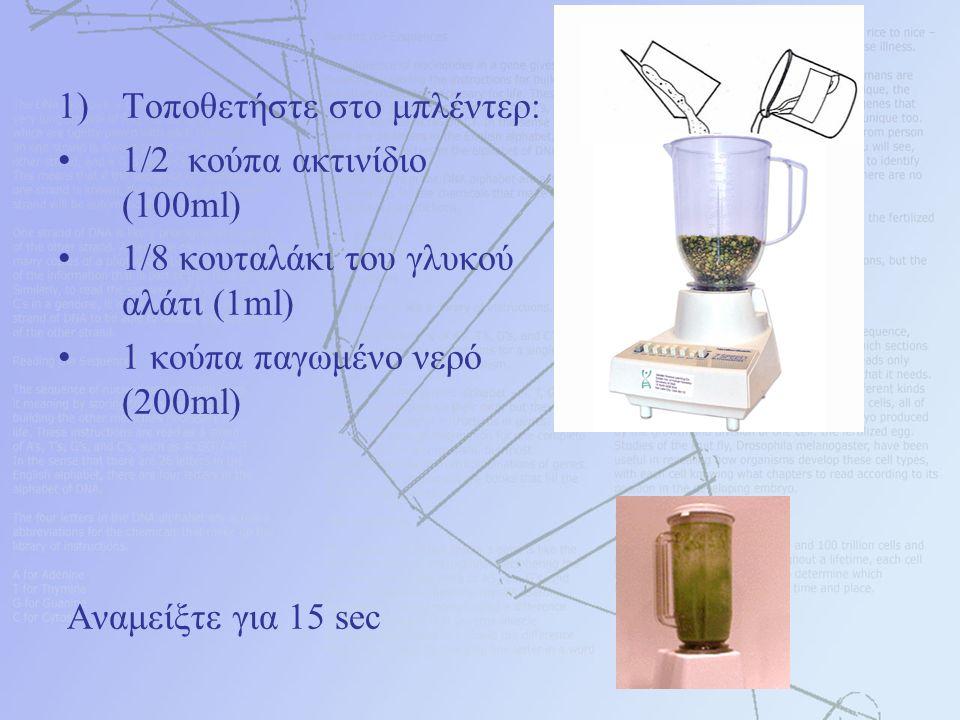 1)Τοποθετήστε στο μπλέντερ: 1/2 κούπα ακτινίδιο (100ml) 1/8 κουταλάκι του γλυκού αλάτι (1ml) 1 κούπα παγωμένο νερό (200ml) Αναμείξτε για 15 sec