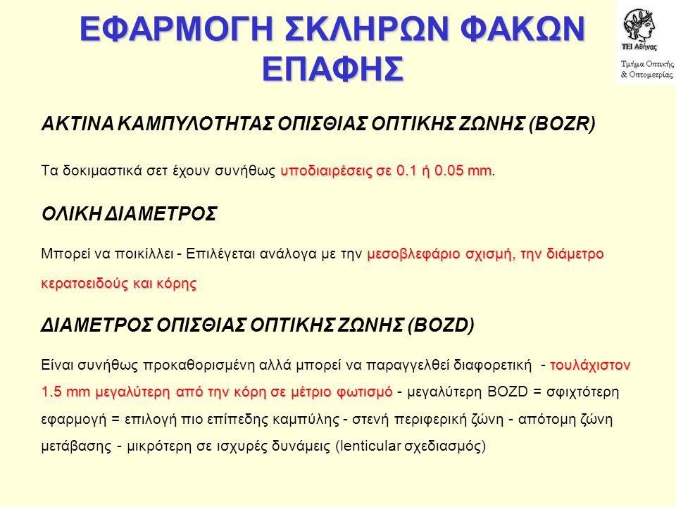 ΕΦΑΡΜΟΓΗ ΣΚΛΗΡΩΝ ΦΑΚΩΝ ΕΠΑΦΗΣ ΑΚΤΙΝΑ ΚΑΜΠΥΛΟΤΗΤΑΣ ΟΠΙΣΘΙΑΣ ΟΠΤΙΚΗΣ ΖΩΝΗΣ (BOZR) υποδιαιρέσεις σε 0.1 ή 0.05 mm Tα δοκιμαστικά σετ έχουν συνήθως υποδιαιρέσεις σε 0.1 ή 0.05 mm.